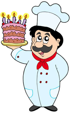 Cartoon chef with cake - vector illustration. Vector