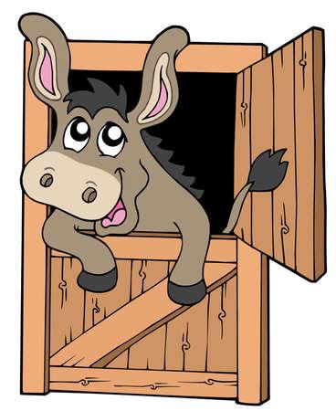 wooden doors: Bonito burro en estable - ilustraci�n vectorial.