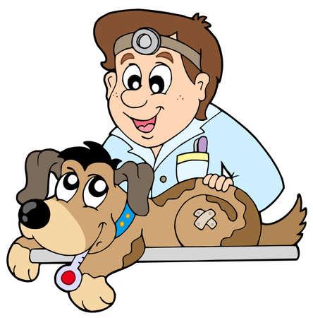 Perro en veterinario - ilustración vectorial.