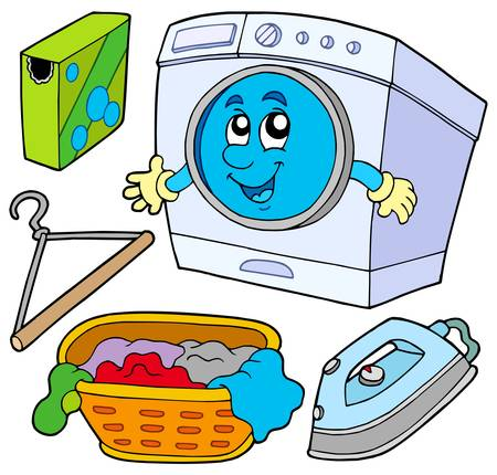 detergents: Laundry collection on white background - vector illustration.