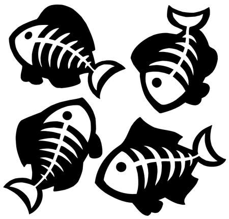 Various fishbones silhouettes - vector illustration. Vector