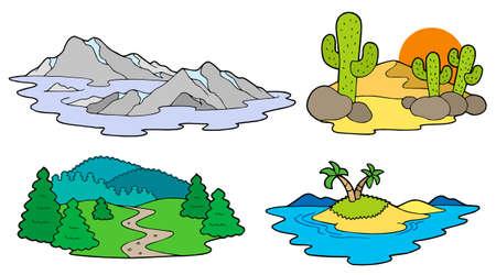 Divers paysages collection - illustration vectorielle.