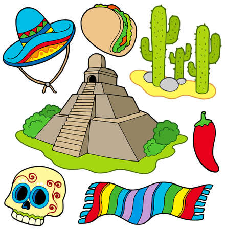 Various Mexican images - vector illustration. Stock Vector - 6092604