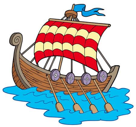 vikingo: Barco vikingo sobre fondo blanco - ilustraci�n vectorial. Vectores