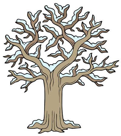 Árbol cubierto de nieve invernal - ilustración vectorial.