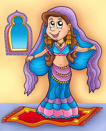 bellydance: Belly dancer on carpet - color illustration.
