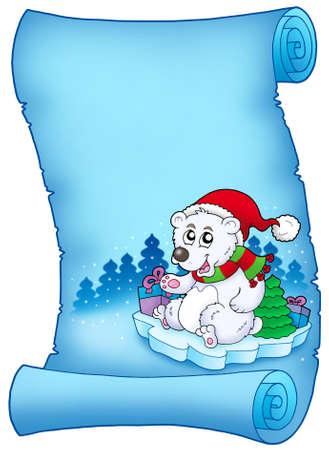 Blue parchment with Christmas bear - color illustration. illustration