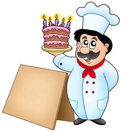 Chef holding cake with wooden table - color illustration. illustration
