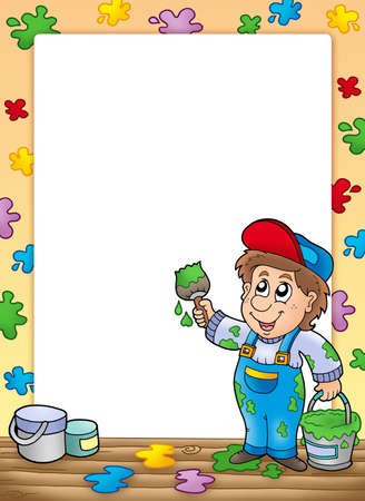 painting and decorating: Frame with cartoon house painter - color illustration. Stock Photo