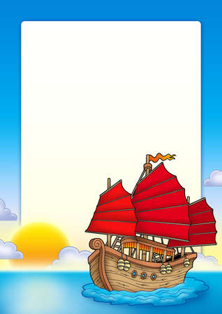 Frame with Chinese ship - color illustration. Stock Photo