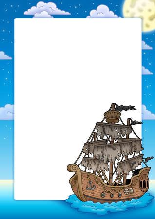 Frame with mysterious ship - color illustration. illustration
