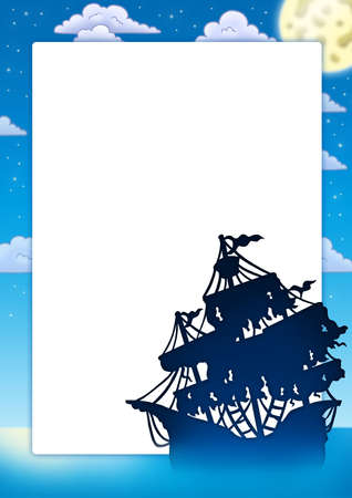 Frame with mysterious ship silhouette - color illustration. illustration