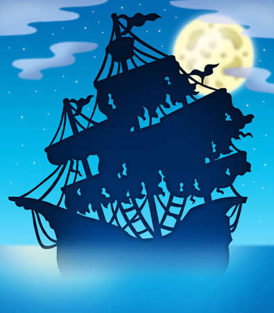 historical ship: Mysterious ship silhouette at night - color illustration. Stock Photo