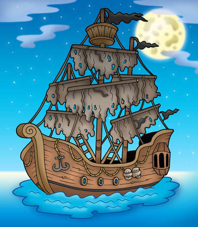 rope ladder: Mysterious ship with full Moon - color illustration.
