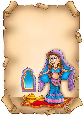 Old parchment with belly dancer - color illustration. illustration