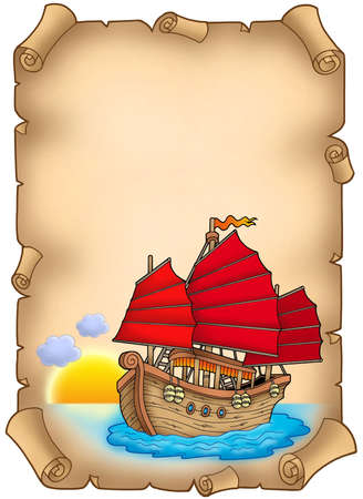 Old scroll with Chinese ship - color illustration.