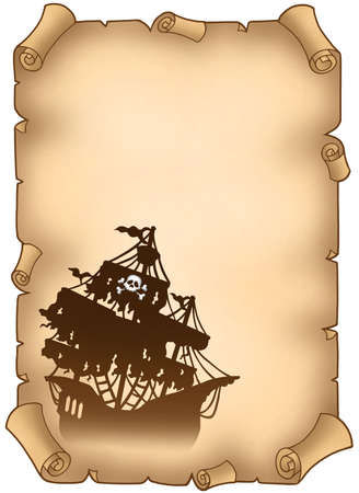 Old scroll with mysterious pirate ship - color illustration. illustration