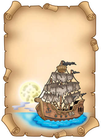 Old scroll with mysterious ship - color illustration. illustration