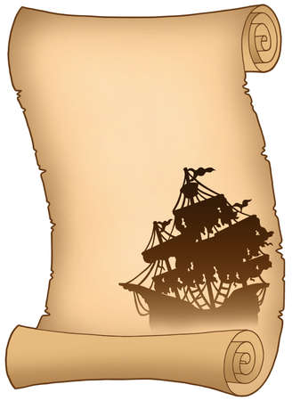 Old scroll with mysterious ship silhouette - color illustration. illustration