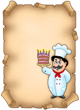 Parchment with chef holding cake - color illustration. illustration
