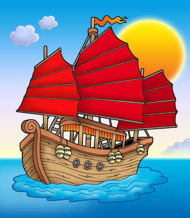 Traditional Chinese ship with sunset - color illustration. Stock Photo