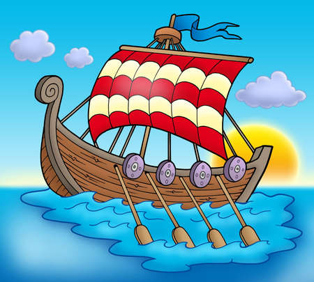 Viking boat on sea - color illustration. Stock Photo