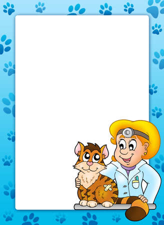 Frame with cat at veterinarian - color illustration. illustration