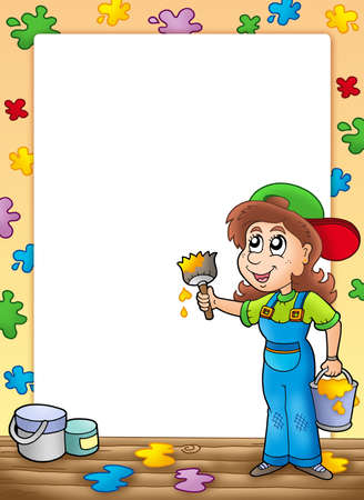 Frame with cute house painter - color illustration. illustration