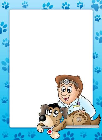 Frame with dog at veterinarian - color illustration. illustration