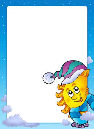 Frame with winter Sun - color illustration. Stock Illustration - 6142668