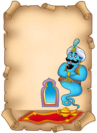 adventure story: Old parchment with genie - color illustration.