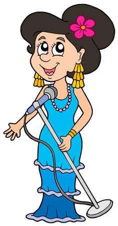 Schöne Sänger auf weißen Hintergrund - Vektor-Illustration.