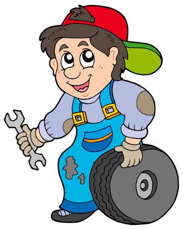 Car mechanic on white background - vector illustration.
