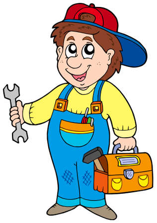 plumbers: Cartoon serviceman on white background - vector illlustration.