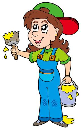 Cute house painter - vector illustration. Stock Vector - 6144823