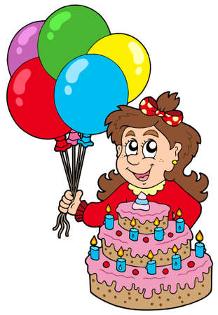 Girl with cake and balloons - vector illustration.