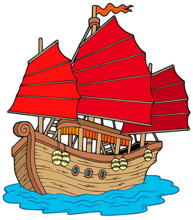 Chinese ship on white background - vector illustration.