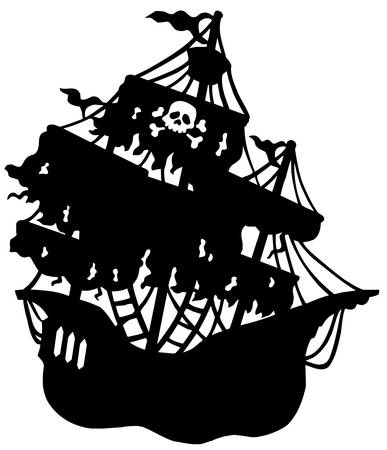 Mysterious pirate ship silhouette - vector illustration. Vector