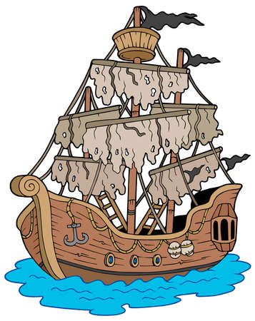 Mysterious ship on white background - vector illustration. Vector