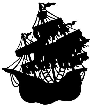 Mysterious ship silhouette - vector illustration. Vector