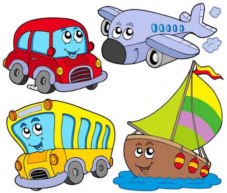 Various cartoon vehicles - vector illustration.