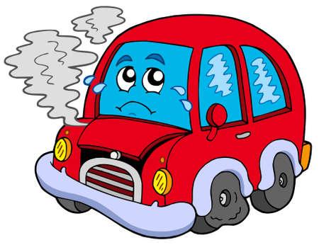 journey problems: Broken cartoon car - vector illustration.