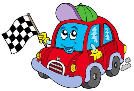 course de voiture: Starter de course de voiture - illustration vectorielle.
