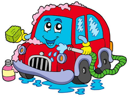 wash car: Cartoon car wash - vector illustration.