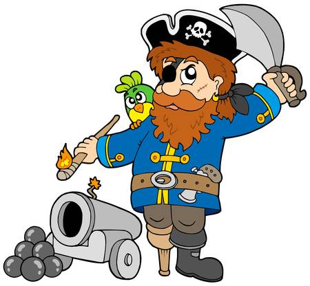 eyepatch: Cartoon pirate with cannon - vector illustration.