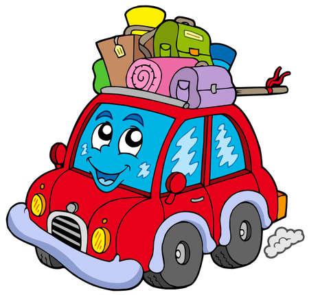 baggage: Cute Auto mit Gep�ck - Vektor-Illustration.