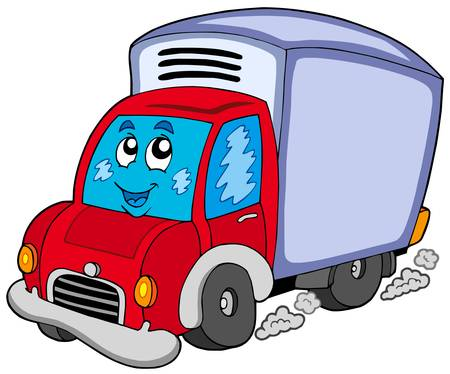 automobile industry: Cute delivery car - vector illustration. Illustration