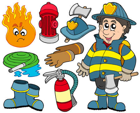 protection incendie: Feu protection collection - illustration vectorielle.