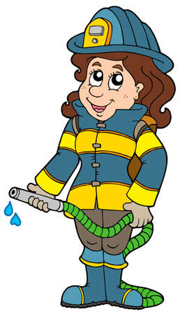 protective clothing: Firefighting girl on white background - vector illustration. Illustration