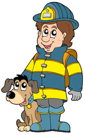 Firefighter with dog - vector illustration. Vector